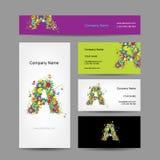 Комплект визитных карточек с флористическим дизайном письма a иллюстрация вектора