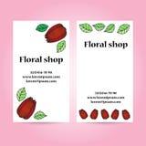Комплект 2 визитных карточек для цветочного магазина с цветками и листьями Иллюстрация штока