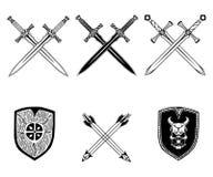 Комплект Викинга стрелки экрана оружия шпаги Стоковые Изображения
