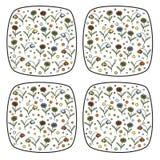 Комплект винтажного вектора штемпелюет с цветками и колокольчиками маргаритки Стоковые Изображения RF