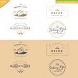 Комплект винтажного дизайна логотипа хлебопекарни Стоковое Фото