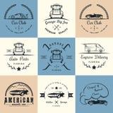 Комплект винтажного клуба и гаража автомобиля значков Стоковое Фото