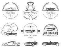 Комплект винтажного клуба и гаража автомобиля значков Стоковая Фотография RF