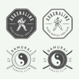 Комплект винтажного логотипа карате или боевых искусств, эмблемы, значка, ярлыка Стоковые Изображения RF