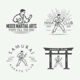 Комплект винтажного логотипа карате или боевых искусств, эмблемы, значка, ярлыка Стоковое Изображение