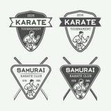 Комплект винтажного логотипа карате или боевых искусств, эмблемы, значка, ярлыка Стоковая Фотография