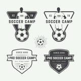 Комплект винтажного логотипа футбола или футбола, эмблемы, значка Стоковое Изображение RF