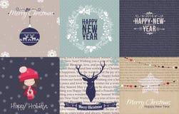 Комплект винтажного рождества и карточек и printables Нового Года Стоковые Фотографии RF