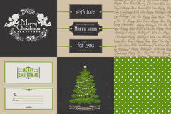 Комплект винтажного рождества и карточек и printables Нового Года Стоковое Фото