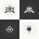 Комплект Винтажное пиво логотипа винзаводов Стоковая Фотография RF