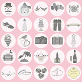 Комплект винтажной свадьбы, стиля моды и значков элементов перемещения Стоковое фото RF