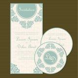 Комплект винтажной флористической карточки приглашения свадьбы Стоковое фото RF