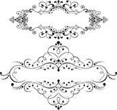 Комплект 2 винтажных богато украшенных элементов кривых иллюстрация вектора