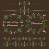 Комплект винтажных декоративных элементов флористического дизайна Стоковое Изображение