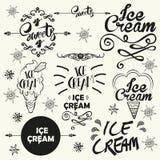 Комплект винтажных значков логотипа магазина мороженого и Стоковое Изображение
