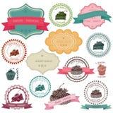 Комплект винтажных значков хлебопекарни Стоковые Фото