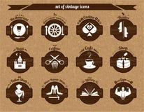 Комплект винтажных значков Стоковое Фото