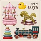 Комплект винтажных игрушек Стоковые Изображения