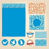 Комплект винтажных карточек свадьбы, приглашений Карточка валентинки, banne Стоковые Изображения RF