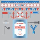 Комплект винтажных морских элементов партии Стоковое Изображение