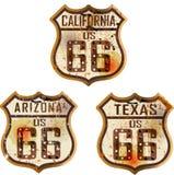 Комплект винтажных дорожных знаков трассы 66 Стоковая Фотография RF