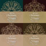 Комплект 4 винтажных открыток для рождества в стиле Nouveau искусства иллюстрация вектора