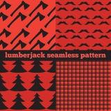 Комплект винтажных предпосылок Lumberjack, ультрамодных картин проверки, тартана и холстинки буйвола битника Стоковое фото RF