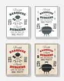Комплект 4 винтажных плакатов партии барбекю иллюстрация штока