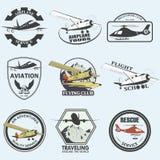 Комплект винтажных ретро значков полета аеронавтики Стоковая Фотография