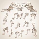 Комплект винтажных символов музыки Стоковое Изображение RF