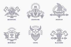 Комплект винтажных шаблонов логотипа вектора с этническими элементами в тонкой линии стиле Стоковые Фото