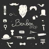 Комплект винтажных элементов дизайна парикмахерской Стоковое Фото