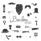 Комплект винтажных элементов дизайна парикмахерской Стоковые Изображения RF