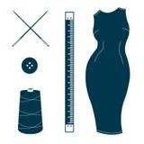Комплект винтажных элементов дизайна портноя Стоковое фото RF