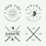 Комплект винтажных элементов карате или логотипа, эмблемы, значка, ярлыка и дизайна боевых искусств в ретро стиле Стоковое фото RF