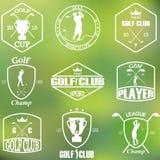 Комплект винтажных ярлыков гольфа Стоковое Изображение RF