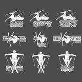 Комплект винтажных ярлыков катания на лыжах и элементов дизайна иллюстрация штока