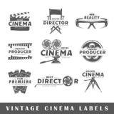 Комплект винтажных ярлыков кино Стоковая Фотография