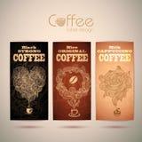 Комплект винтажных ярлыков кофе Стоковая Фотография RF