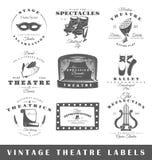 Комплект винтажных ярлыков театра Стоковые Изображения