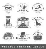 Комплект винтажных ярлыков театра Стоковое Фото