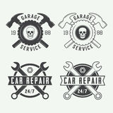 Комплект винтажных ярлыков, эмблем и логотипа механика также вектор иллюстрации притяжки corel Стоковое фото RF