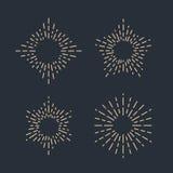 Комплект винтажных sunbursts в различных формах Иллюстрация вектора битника Стоковые Изображения