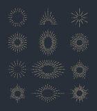 Комплект винтажных sunbursts в различных формах Иллюстрация вектора битника Стоковые Фото