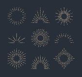 Комплект винтажных sunbursts в различных формах Иллюстрация вектора битника Стоковые Изображения RF