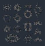 Комплект винтажных sunbursts в различных формах Иллюстрация вектора битника Стоковая Фотография