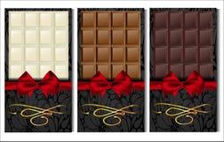Комплект 3 видов шоколада: темнота, молоко и белизна Стоковая Фотография RF