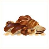Комплект вкусного хлеба на салфетке иллюстрация штока