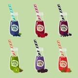 Комплект вкусных и здоровых smoothies бесплатная иллюстрация
