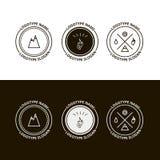 Комплект внешнего приключения, экспедиции, логотипа туризма Стоковые Фото
